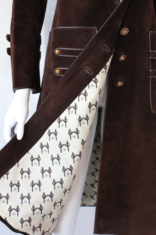 70s Gucci Suede Coat with Enameled Fox Head Buttons 4