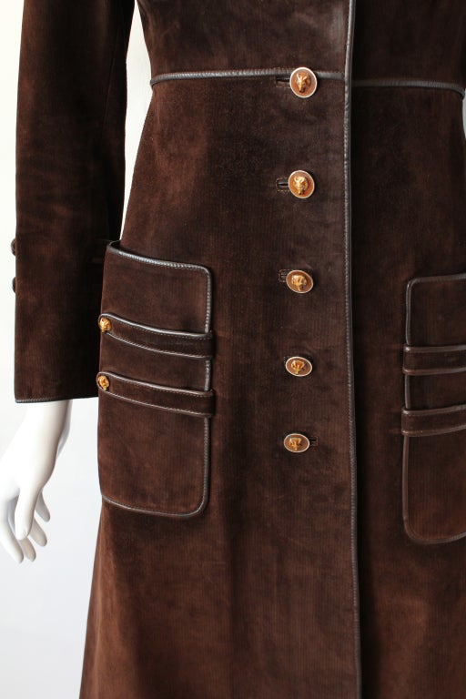 70s Gucci Suede Coat with Enameled Fox Head Buttons 5