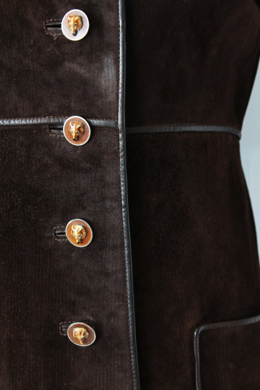 70s Gucci Suede Coat with Enameled Fox Head Buttons 6