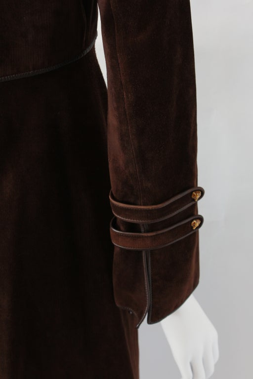 70s Gucci Suede Coat with Enameled Fox Head Buttons 8