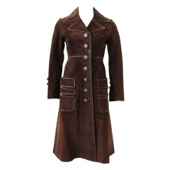 70s Gucci Suede Coat with Enameled Fox Head Buttons