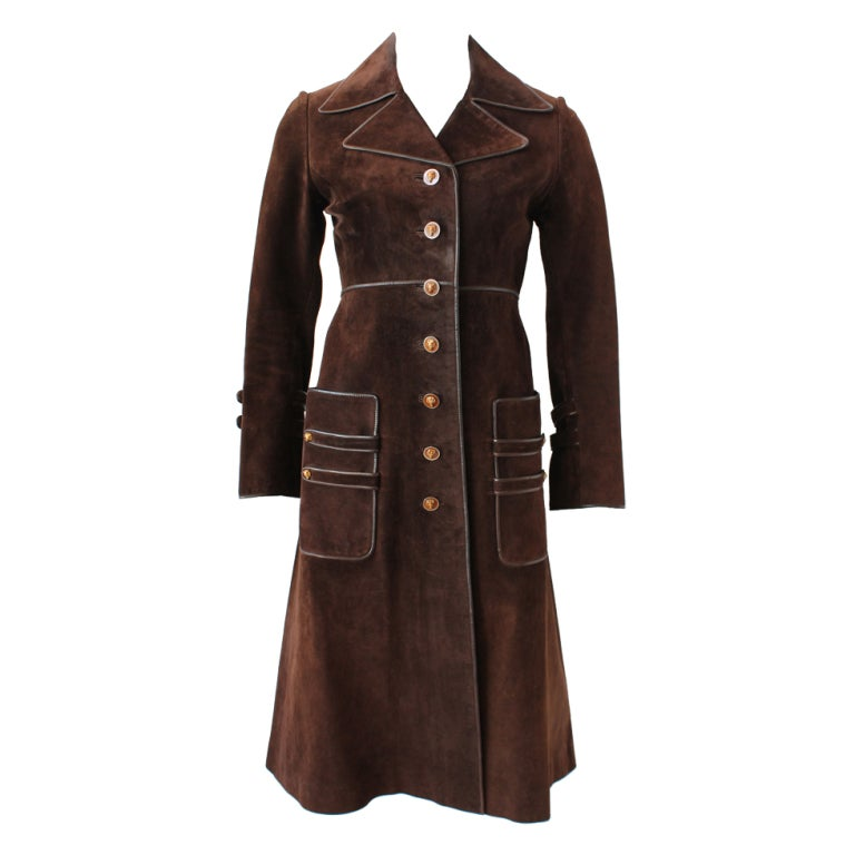 70s Gucci Suede Coat with Enameled Fox Head Buttons 1