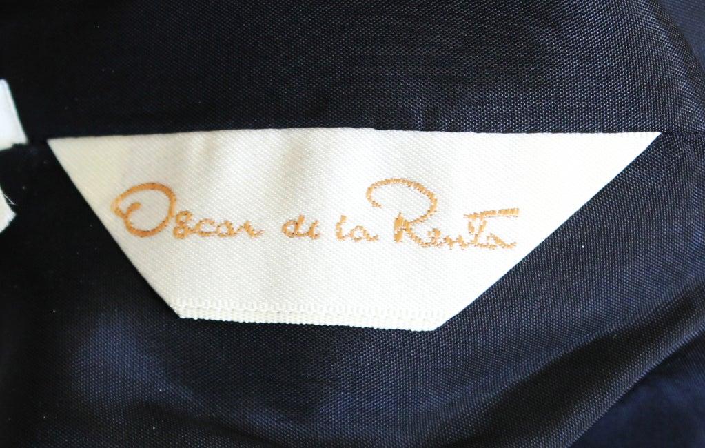 80s Oscar de la Renta Velvet Column Gown w/Beaded Bow 5