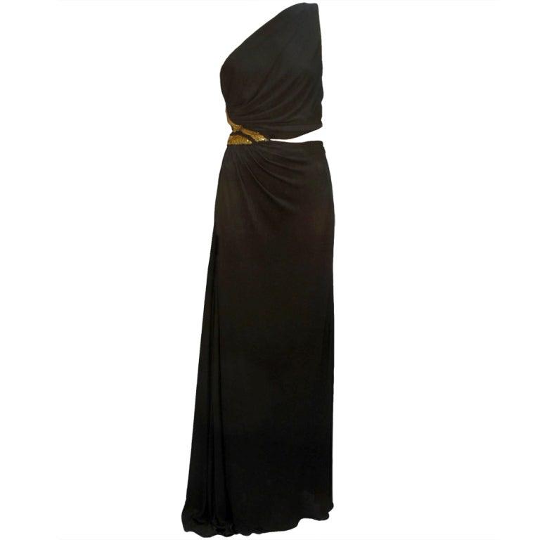 Geoffrey Beene One-Shoulder Evening Gown w/Sequin Detail
