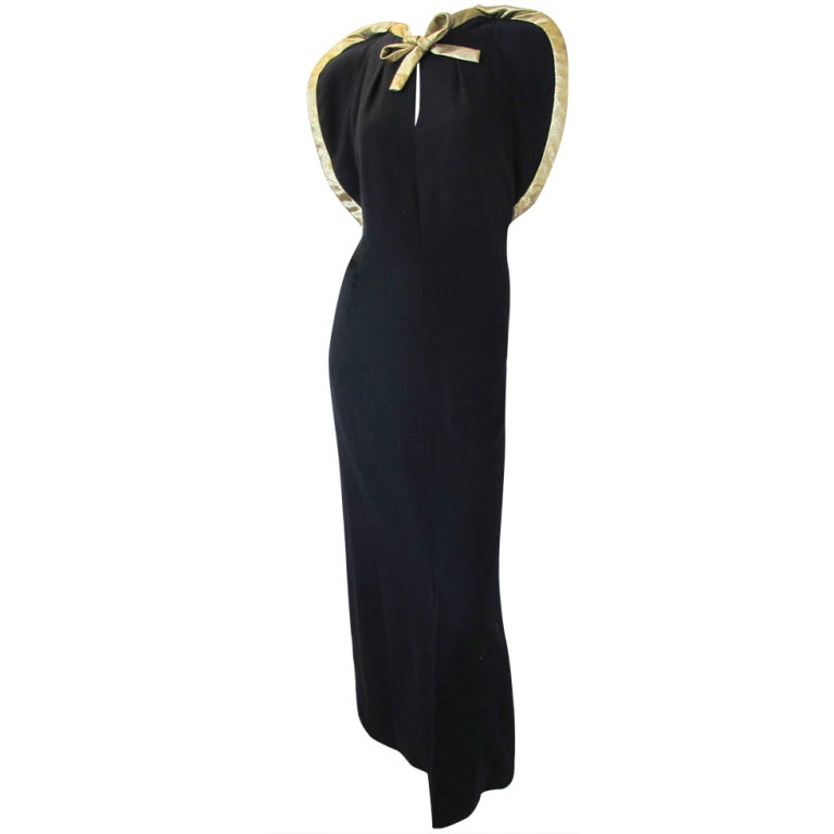 Pauline Trigere Starlet Gown w/Gold Lame Piping & Bow