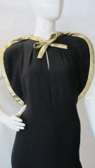 Pauline Trigere Starlet Gown w/Gold Lame Piping & Bow thumbnail 5