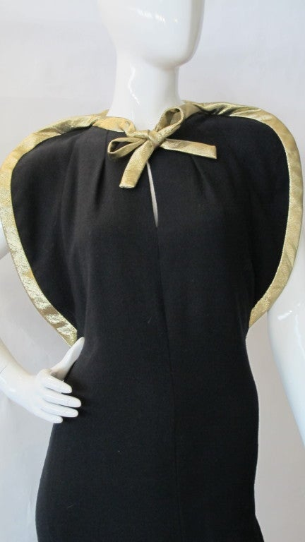 Pauline Trigere Starlet Gown w/Gold Lame Piping & Bow image 5