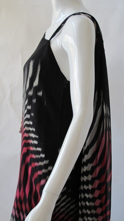70s Hanae Mori Couture Op Art Chiffon Gown w/Asymmetric Shoulder For Sale 1