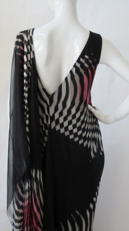 70s Hanae Mori Couture Op Art Chiffon Gown w/Asymmetric Shoulder In Excellent Condition For Sale In Los Angeles, CA