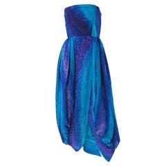 Bill Blass Blue & Purple Silk Strapless Bubble Gown w/Matching Scarf