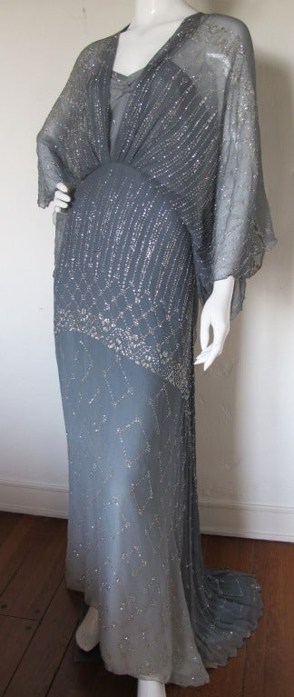 1970s Gina Fratini Ombre Silk Glitter Gown with Train 2