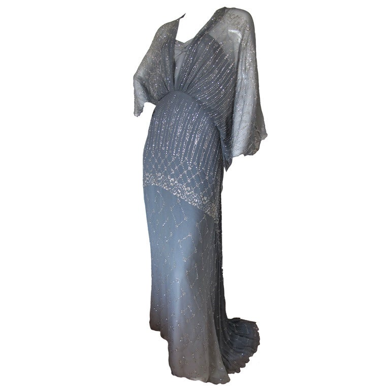 1970s Gina Fratini Ombre Silk Glitter Gown with Train 1