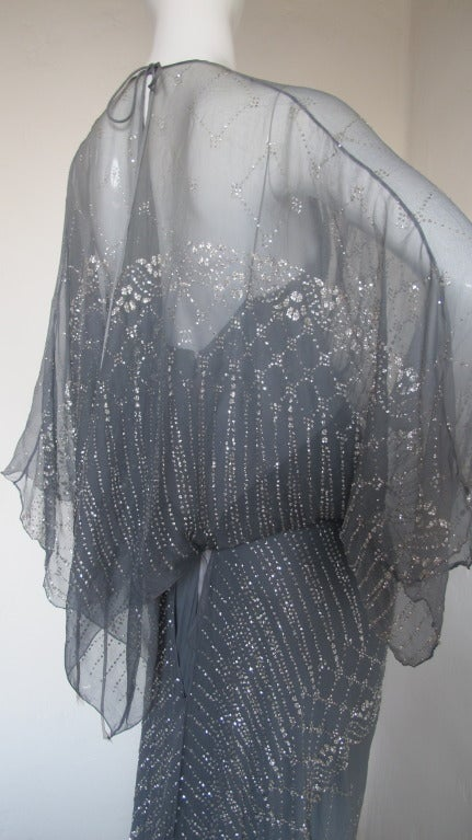 1970s Gina Fratini Ombre Silk Glitter Gown with Train 4