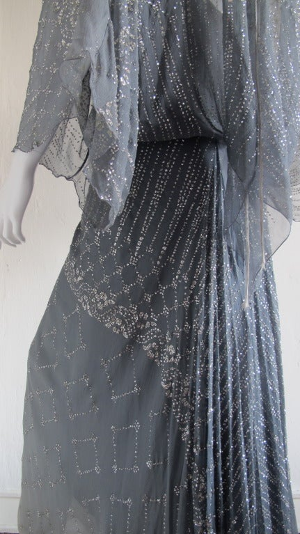 1970s Gina Fratini Ombre Silk Glitter Gown with Train 6