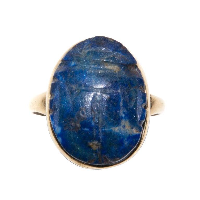 Antique Egyptian Lapis Lazuli Scarab Ring At 1stdibs