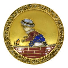 A charming 19th century Cloisonne Enamel and Gold Brooch