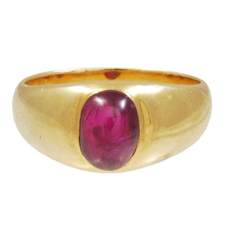 Cabochon Ruby Gold Ring 1910 Circa At 1stdibs