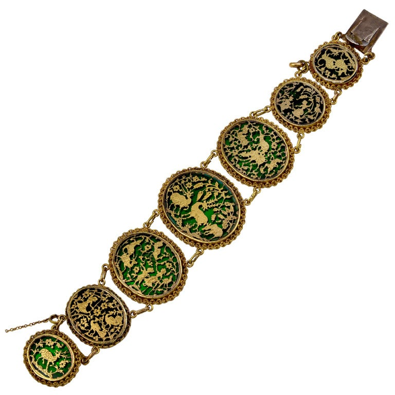 Antique Indian Pertaghbar Work Gold And Enamel Bracelet At