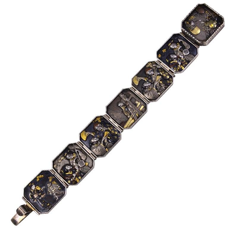 antique seven panel japanese shakudo bracelet at 1stdibs