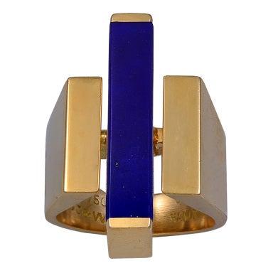 georg jensen gold and lapis lazuli ring at 1stdibs. Black Bedroom Furniture Sets. Home Design Ideas
