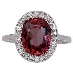 Pink Precious Zircon, Diamond & Platinum Ring