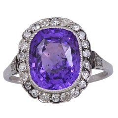 Purple Sapphire, Diamond & Platinum Ring