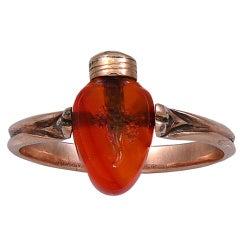 Carnelian Double Intaglio Pomander Gold Ring