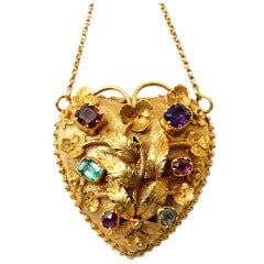 A fine Georgian  Regard Gold Heart Pendant.