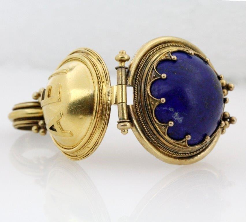 Victorian Revivalist Lapis Lazuli Gold Bula Locket Pendant
