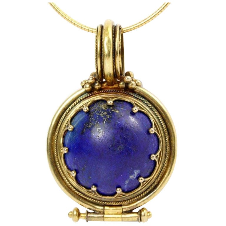 Victorian Revivalist Lapis Lazuli Gold Bula Locket Pendant Necklace
