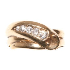 Victorian Diamond Gold Single Head Snake Engagement Ring
