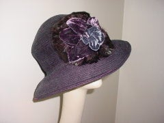 Vintage Eric Javits hat with velvet flowers and feathers thumbnail 2