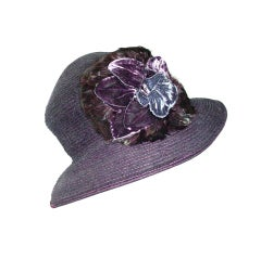 Vintage Eric Javits hat with velvet flowers and feathers thumbnail 1