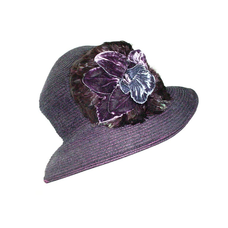 Vintage Eric Javits hat with velvet flowers and feathers