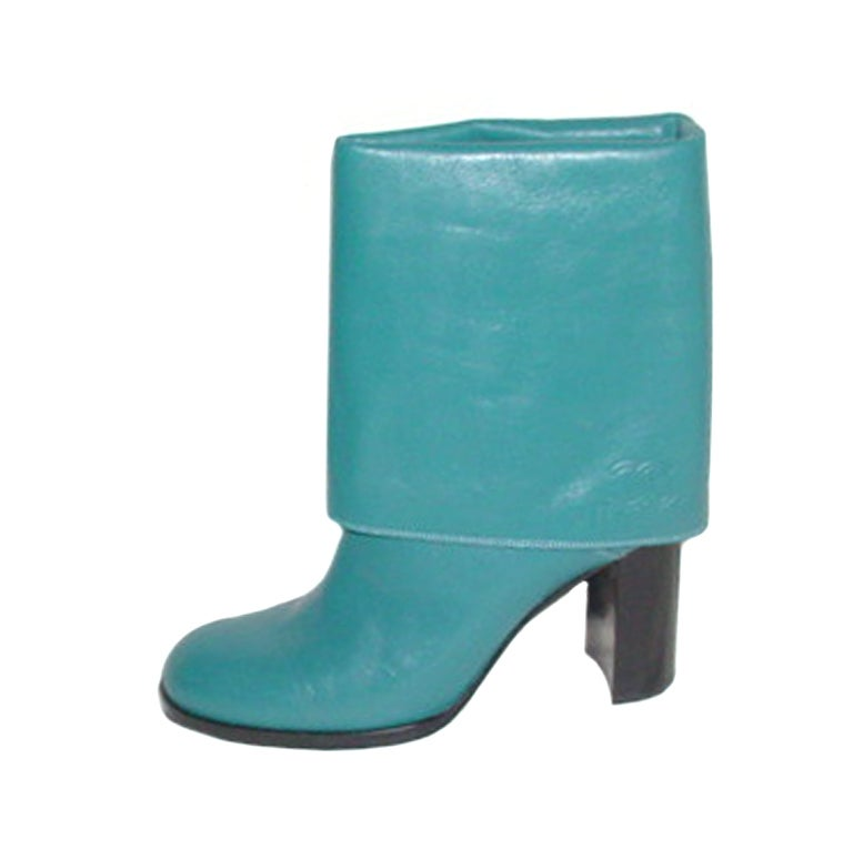 chanel turquoise leather boots at 1stdibs