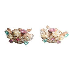 Vintage Miriam Haskell earrings with pink and blue stones