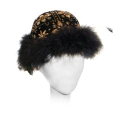 Le Minor France gold embroidered and maribou hat