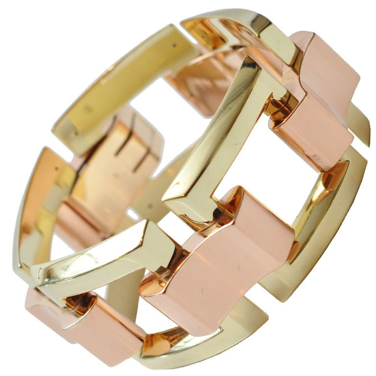 Stunning Yellow & Rose Gold Link Bracelet  For Sale
