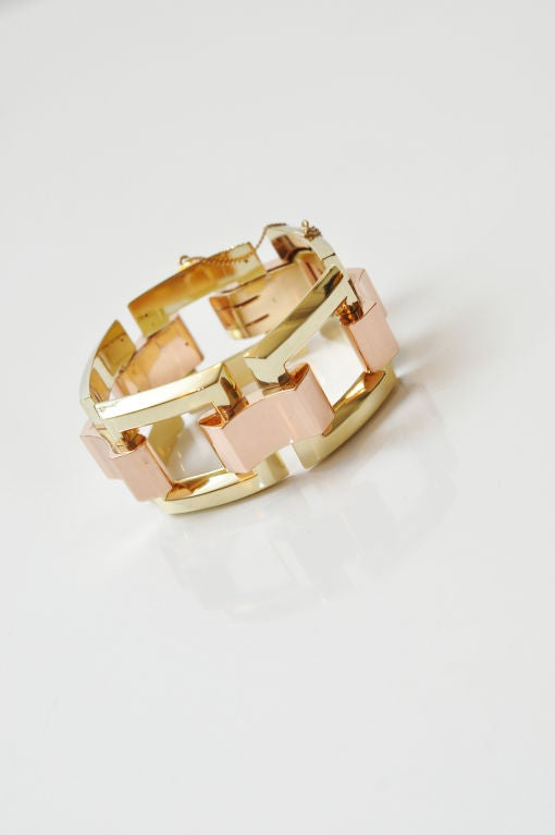Stunning Yellow & Rose Gold Link Bracelet  3