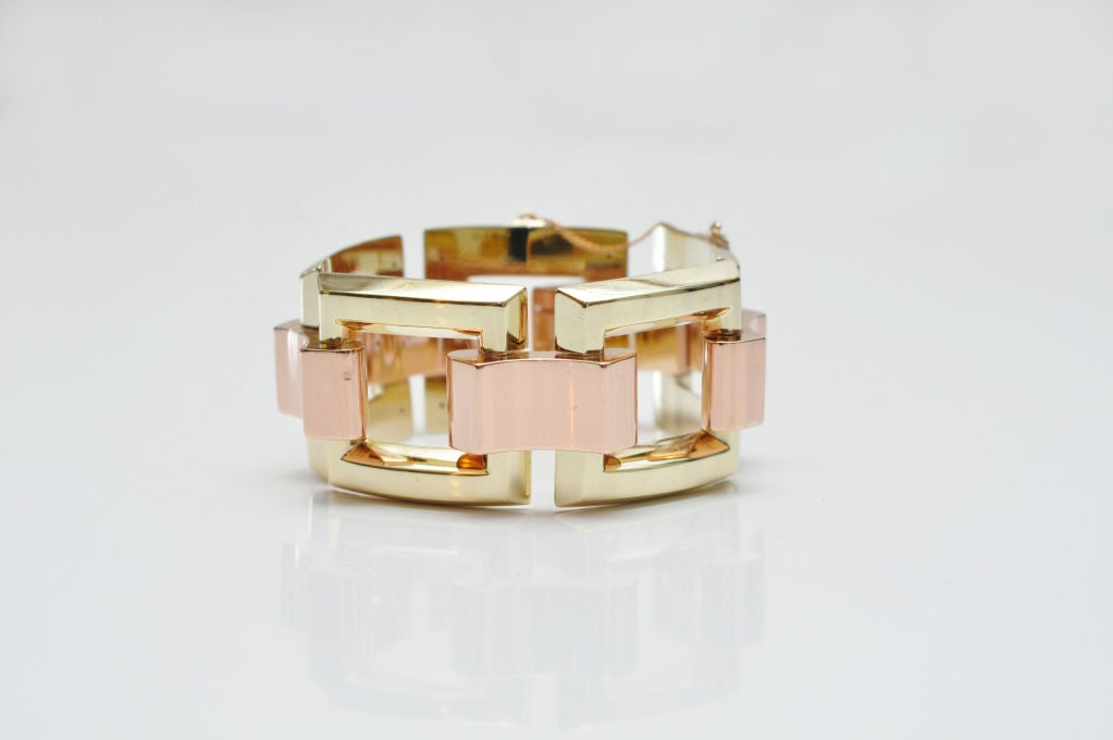 Stunning Yellow & Rose Gold Link Bracelet  4