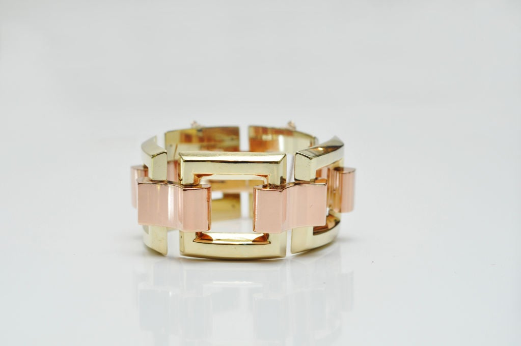 Stunning Yellow & Rose Gold Link Bracelet  5