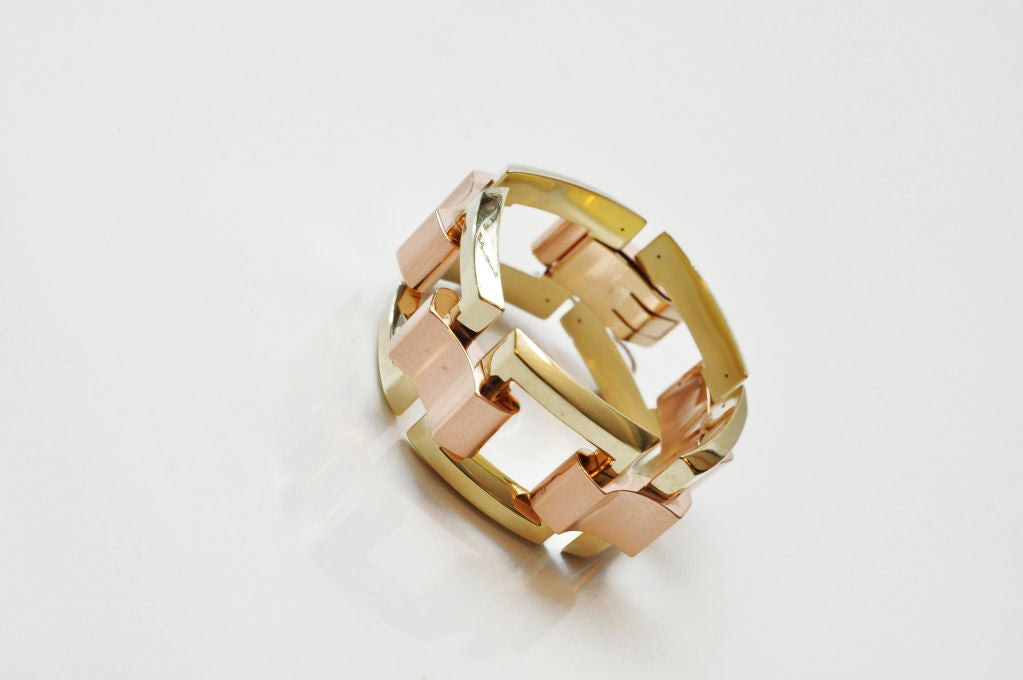 Stunning Yellow & Rose Gold Link Bracelet  7