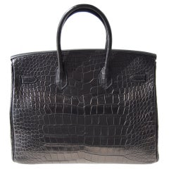 35cm Hermès So Black Alligator Birkin Bag Handbag thumbnail 2