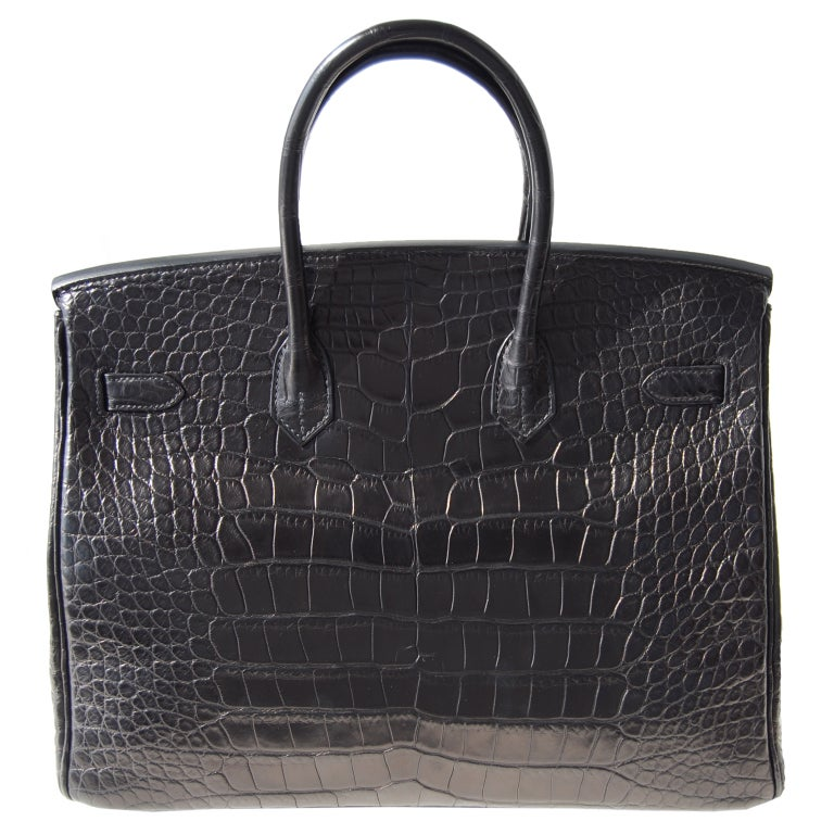 35cm Hermès So Black Alligator Birkin Bag Handbag image 2