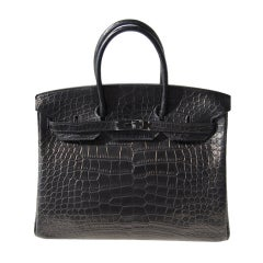 35cm Hermès So Black Alligator Birkin Bag Handbag thumbnail 1