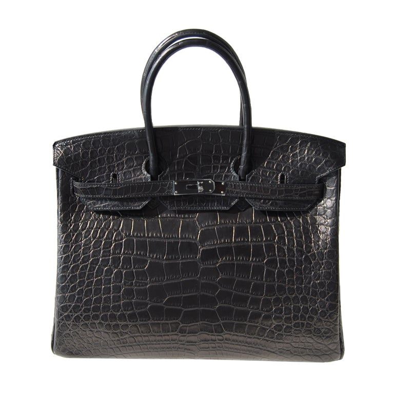 35cm Hermès So Black Alligator Birkin Bag Handbag