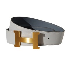 100cm Hermès White and Gris Perle Epsom Leather Belt