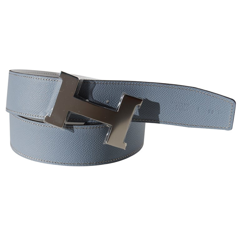 85cm hermes white and gris perle epsom leather belt at 1stdibs