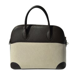 37cm Hermès 2 Tone Ebene Clemence Leather and Toile Bolide Bag