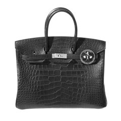 35cm Hermès Matte Black Alligator Birkin Handbag